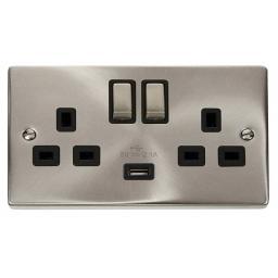 13A 2g Sw Socket W/ 2.1A USB Satin Chrome/Blk Ingot