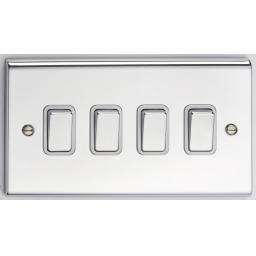 10A 4G 2W Switch- Chrome/White