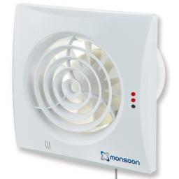 "National Vent Monsoon 4""/100mm Extractor Fan - Timer/Silent"