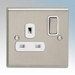 13A 1G DP Switched Socket- Stainless Steel/White