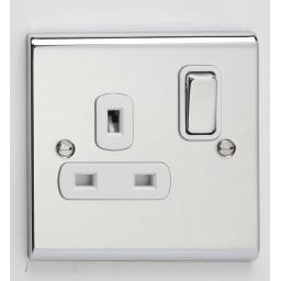 13A 1G DP Switched Socket- Chrome/White