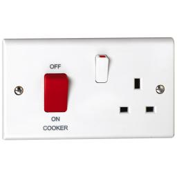 45A Cooker Control Unit with Red Rocker