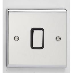 10A 1G 2W Switch- Chrome/Black