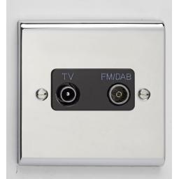 TV/FM DAB Diplexer Outlet Chr/Blk