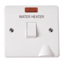 20A DP Switch With Neon 'Water Heater' + Flex Outlet