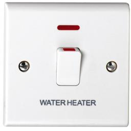 20A DP Switch with Neon marked Water Heater