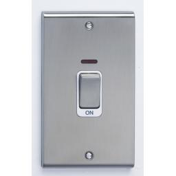 45A DP Tall Switch with Neon - Stainless Steel/
