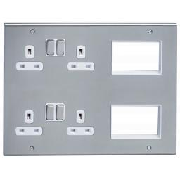 13A 4G Socket & 6 Data Module Outlets Stainless Steel/White