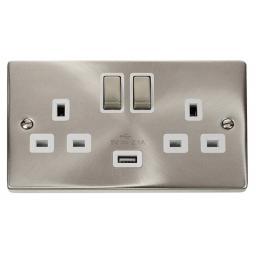 13A 2g Sw Socket W/ 2.1A USB Satin Chrome/Wh Ingot