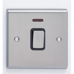 20A DP Switch with Neon Stainless Steel/Black