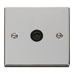 Single Coaxial Socket Outlet - Black