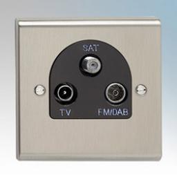 TV/FM DAB Satellite Triplexer Outlet Stainless Steel/Black