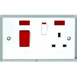 50A Cooker Control Unit with Red Rocker & Neon