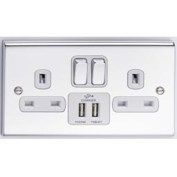 13A 2G DP Switched Socket with 2 USB Outlets- Chrome/White