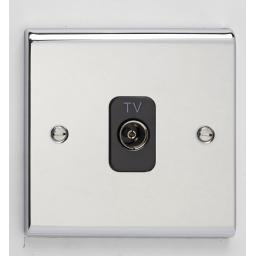 Single Co-Axial Outlet - Isolated- Chrome/Black