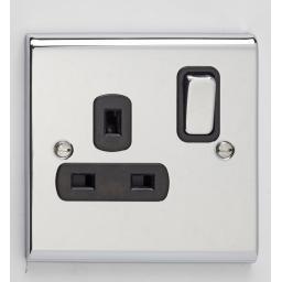 13A 1G DP Switched Socket- Chrome/Black