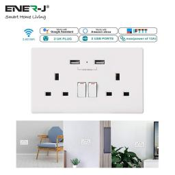 13A 2Gang Socket Outlet w/ 2 USB Ports - WiFi Controlled