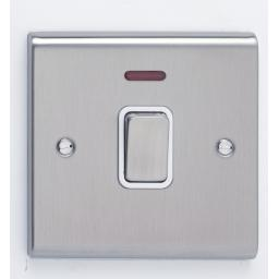 20A DP Switch with Neon Stainless Steel/White