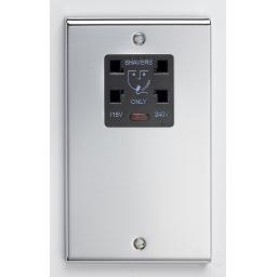 Dual Voltage Shaver Socket with Neon- Chrome/Black