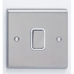 20A DP Switch- Stainless Steel/White