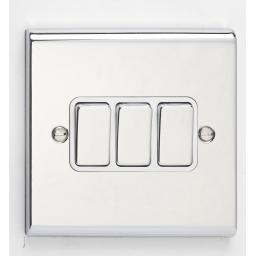 10A 3G 2W Switch- Chrome/White