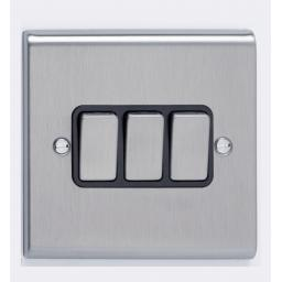 10A 3G 2W Switch- Stainless Steel/Black