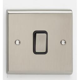 10A 1G 2W Switch- Stainless Steel/Black
