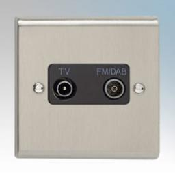 TV/FM DAB Diplexer Outlet- Stainless Steel/Black