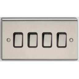 10A 4G 2W Switch- Stainless Steel/Black