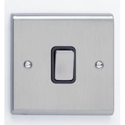 10A 1G Intermediate Switch- Stainless Steel/Black