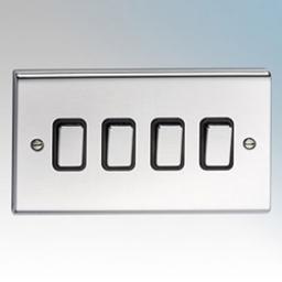 10A 4G 2W Switch- Chrome/Black