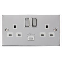 13A 2g Sw Socket W/ 2.1A USB Chrome/Wh Ingot