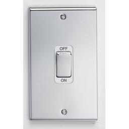 50A DP Tall Switch - Chrome/White