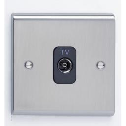 Single Co-Axial Outlet - Isolated- Stainless Steel/Black