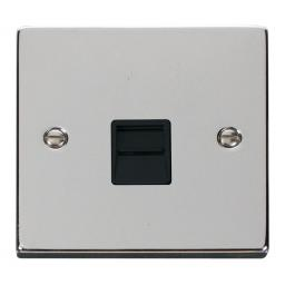 Single Telephone Socket Outlet Secondary - Black