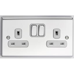 13A 2G DP Switched Socket- Chrome/White