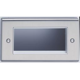 4 Module Data Plate- Stainless Steel/White