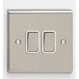 10A 2G 2W Switch- Stainless Steel/White