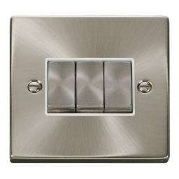 3 Gang 2 Way 'Ingot' 10ax Switch - White