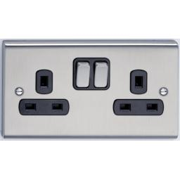 13A 2G DP Switched Socket- Stainless Steel/Black