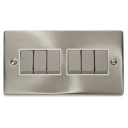 6 Gang 2 Way 'Ingot' 10ax Switch - White