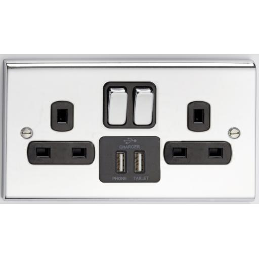 13A 2G DP Switched Socket with 2 USB Outlets- Chrome/Black