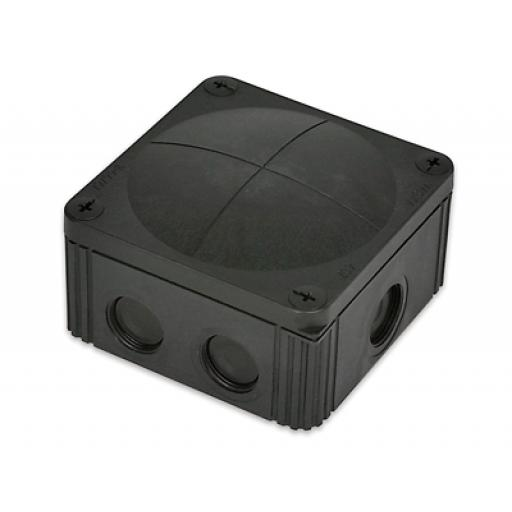 Wiska Black Plastic Junction Box - IP66 (85x85x51 mm)