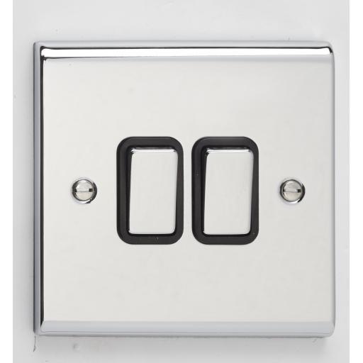 10A 2G 2W Switch- Chrome/Black