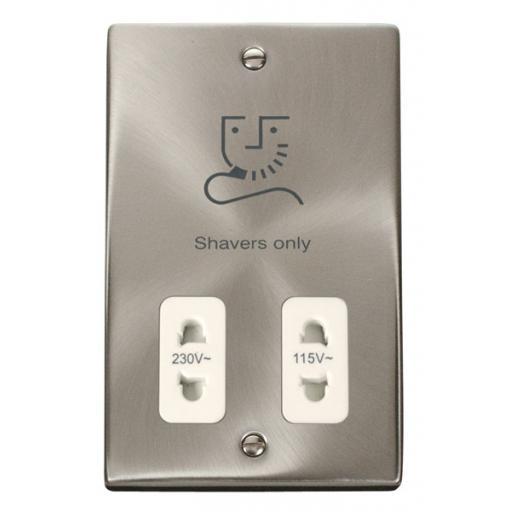 Dual Voltage Shaver Socket Outlet 115/230v - White