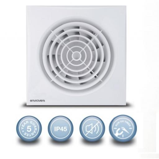 "Envirovent Silent 4""/100mm Extractor Fan - Intelligent Timer"