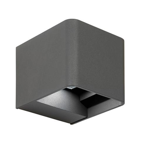 Odin Square 2lt Wall IP54 3W Daylight White - Matt Grey