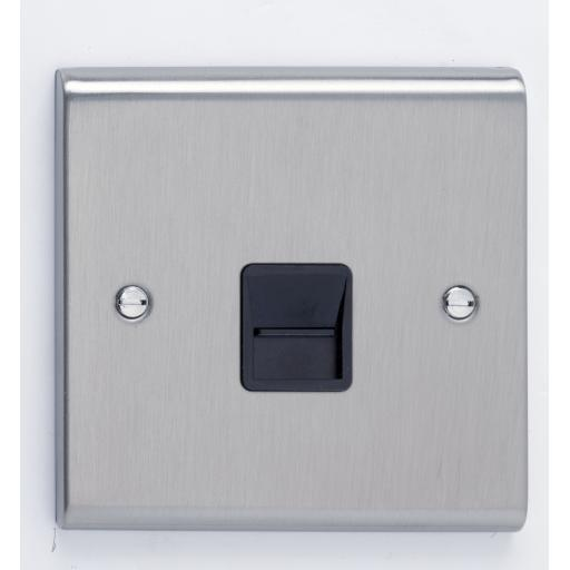 Master Telephone Outlet- Stainless Steel/Black