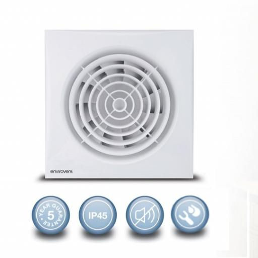 "Envirovent Silent 6""/150mm Extractor Fan - Humidistat & Time"