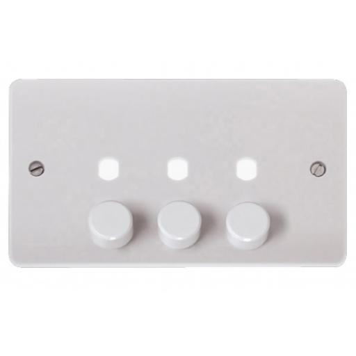 MODE 3 GANG DOUBLE DIMMER PLATE & KNOBS